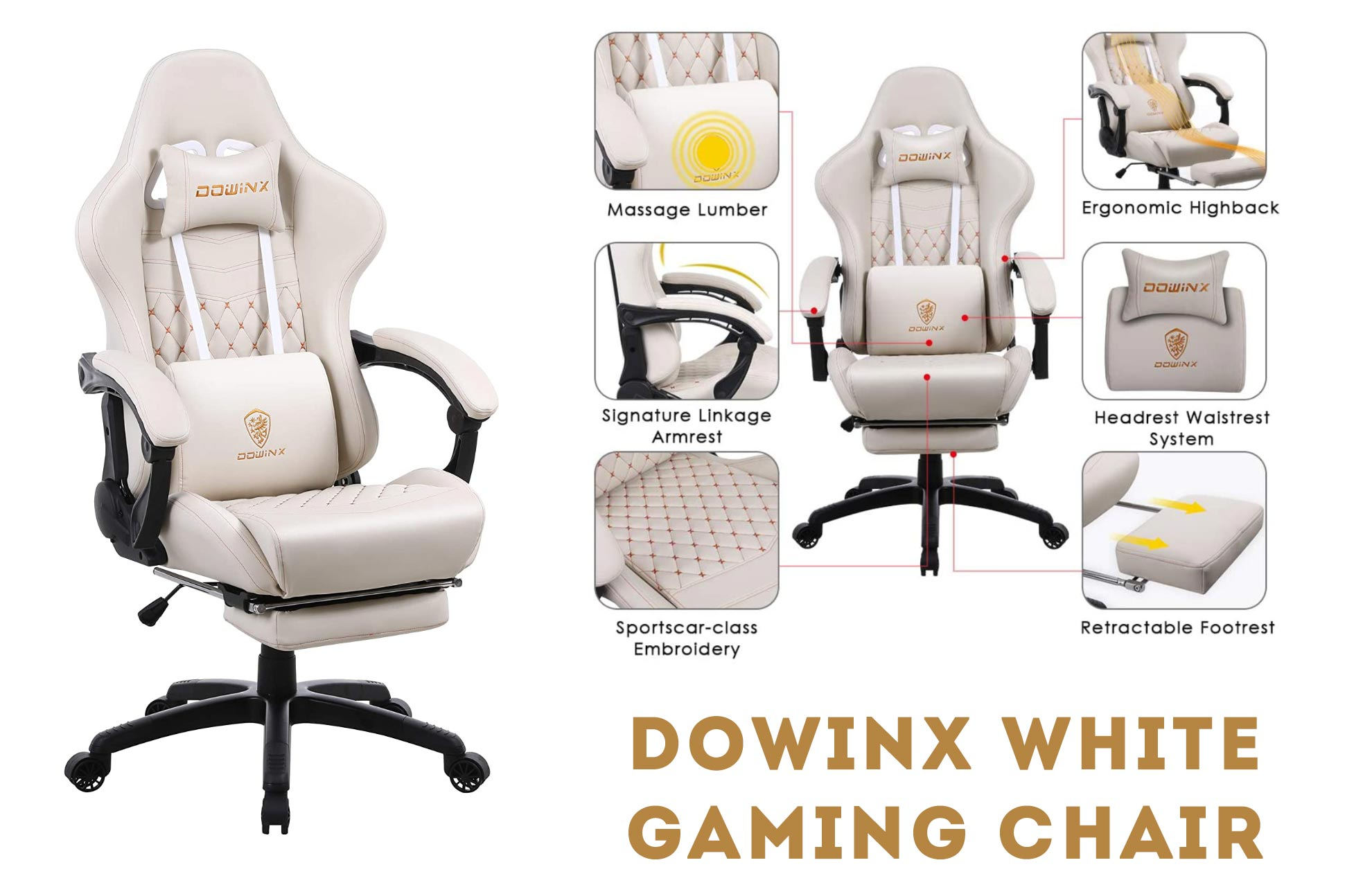 Dowinx white gaming chair